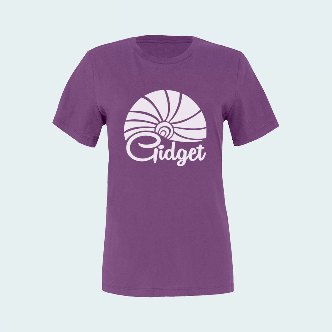 Kids lilac anemone colored t-shirt, view of front-side, with large-print of sunrise logo