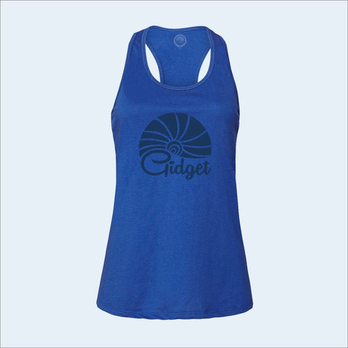 Women's deep blue tanktop, view of front-side, with large print of sunrise logo