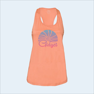 Women's trestles coral tanktop, view of front-side, with large print of sunset logo