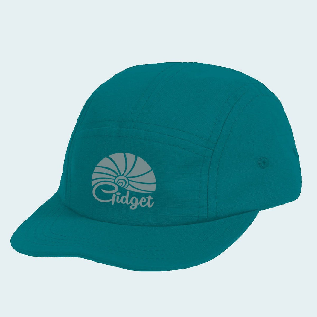 Women's runner hat, rough sea green color with sunrise logo
