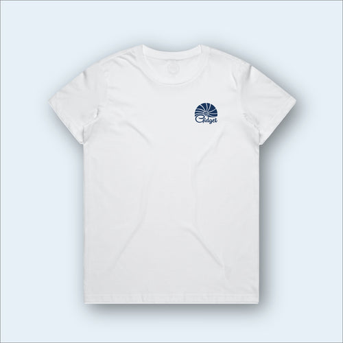Women's macaroon white t-shirt, view of front-side, with pocket-print of sunrise logo