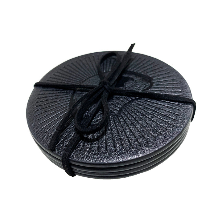 BLACK LEATHERETTE COASTER SET