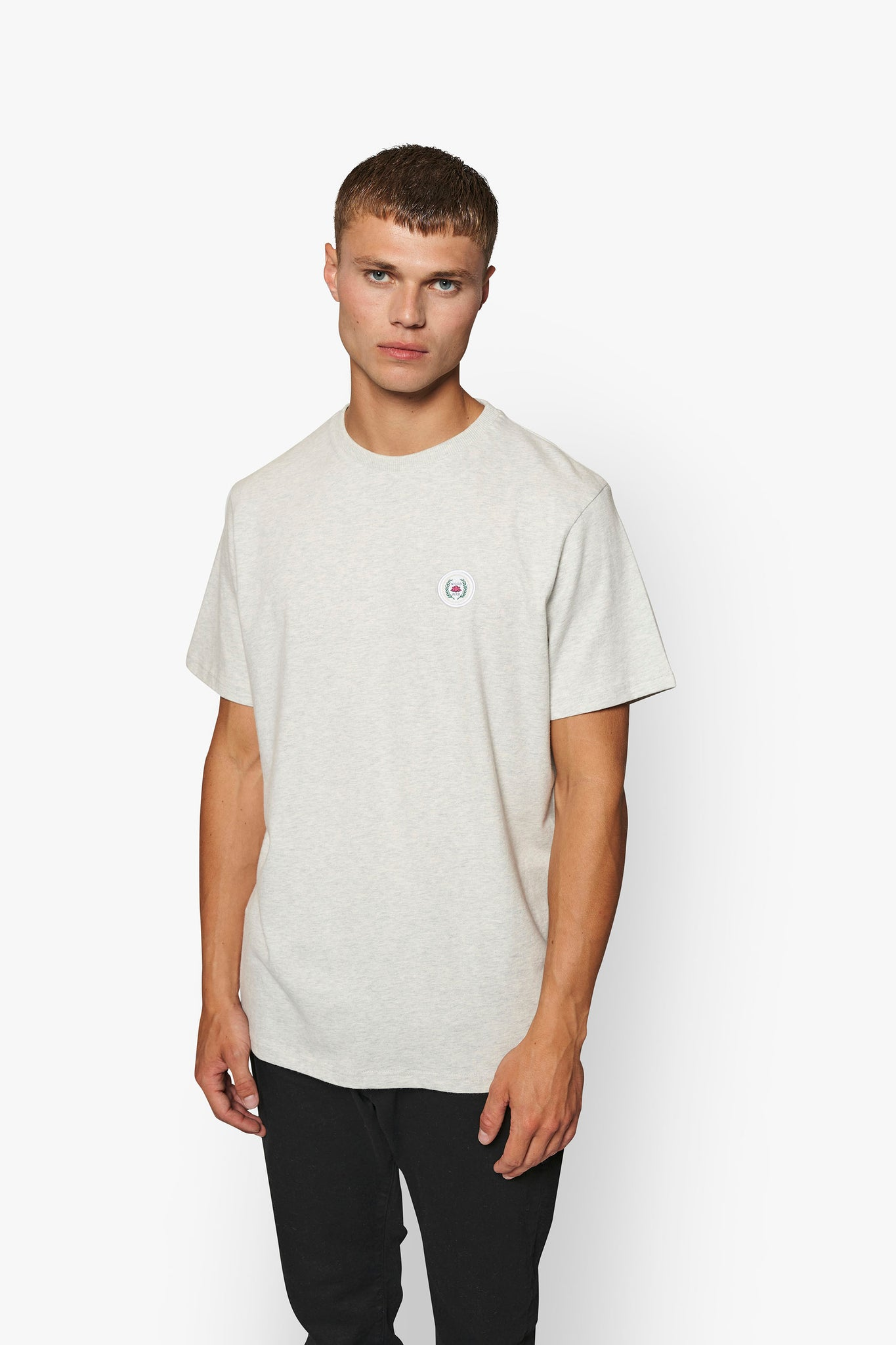 Our Jarvis Patch Snow Tee - Snow Melange