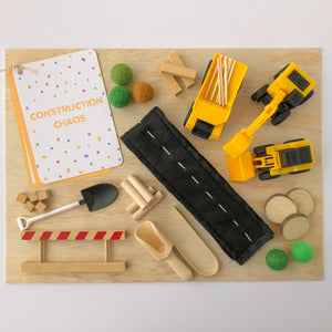Construction Chaos Sensory Play Kit with Wooden Play Box