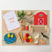 Load image into Gallery viewer, Farm Fun Sensory Play Kit with Wooden Play Box