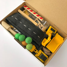 Load image into Gallery viewer, Construction Chaos Sensory Play Kit with Wooden Play Box