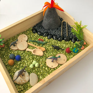 Dino Dig Sensory Play Kit with Wooden Play Box
