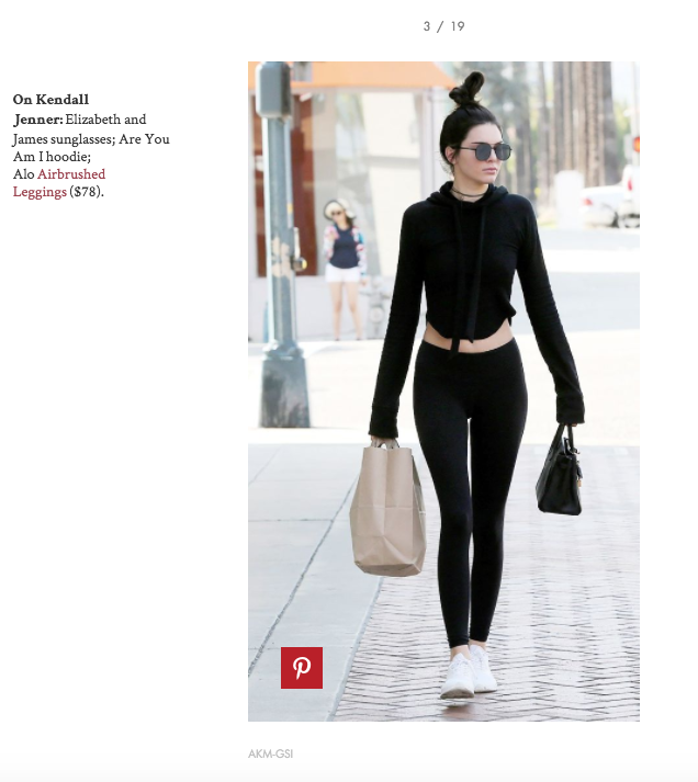 The Croft Hoodie on Kendall Jenner in Who What Wear's Celebrity Legging Feature