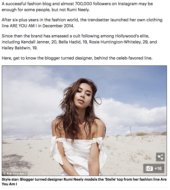 Behind the Brand With Rumi Neely for Daily Mail