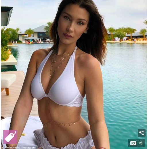 Bella Hadid in Tuille Swim Bottom for Daily Mail