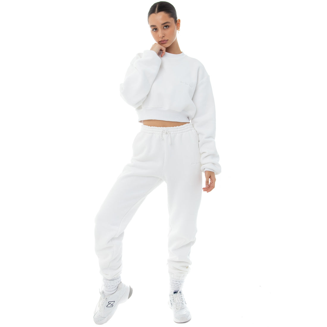 Are You Am I - Dewe Cropped Sweatshirt **white