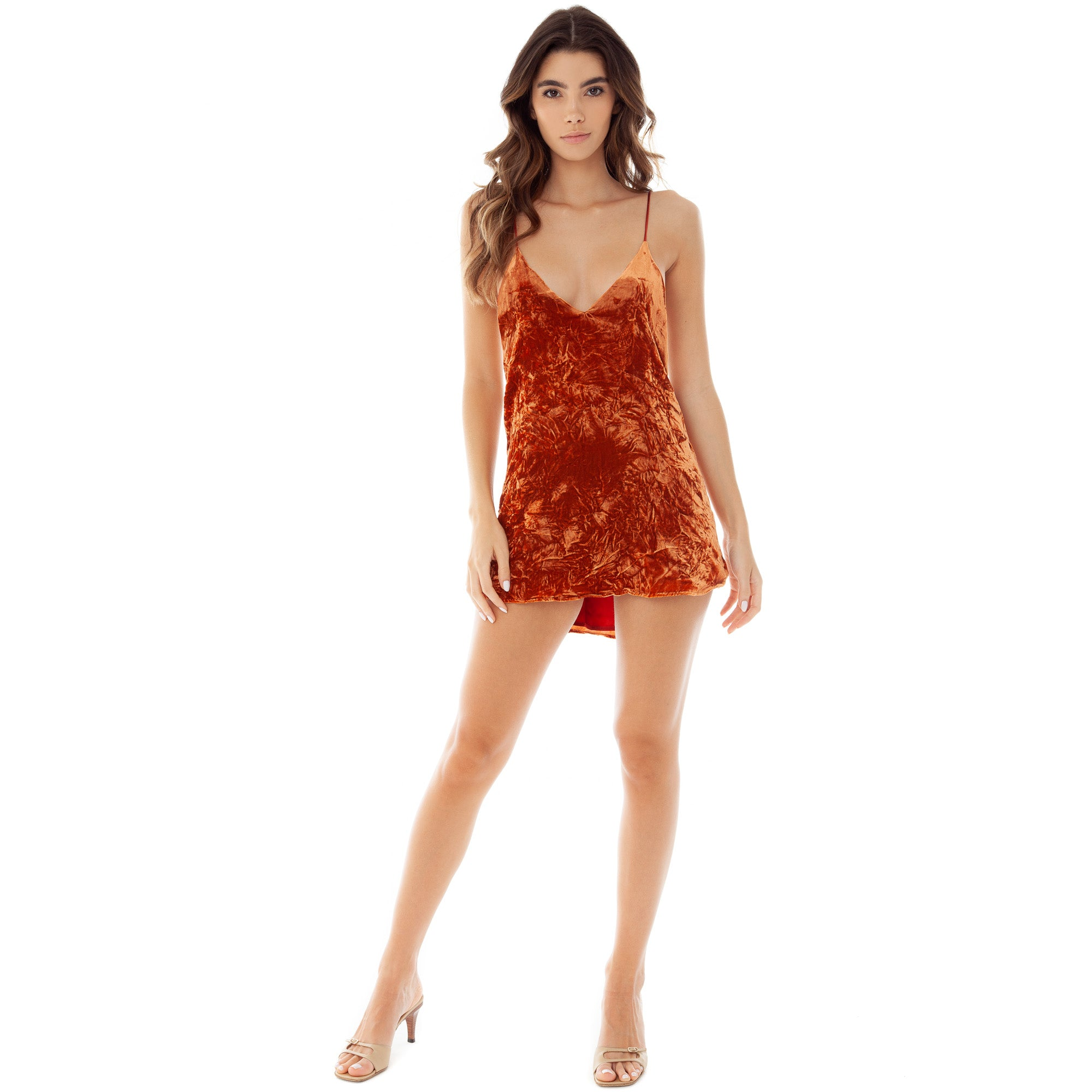 Are You Am I - Crushed Velvet Zillah Slip Dress **rust