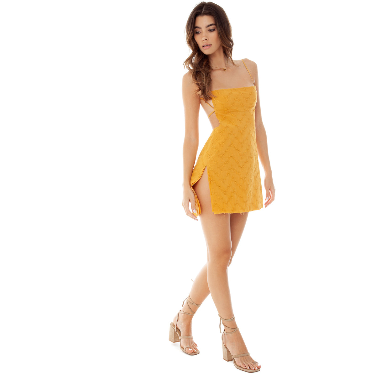 Are You Am I - Missi Eyelet Dress **mustard
