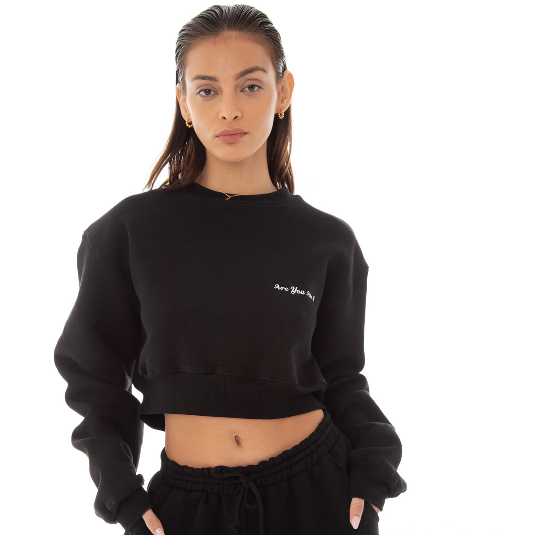 Are You Am I - Dewe Cropped Sweatshirt **black