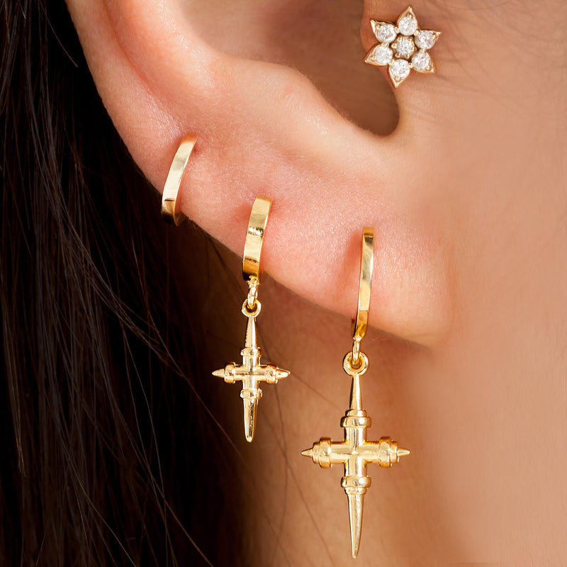 Are You Am I - Iselin Medium Cross Hoop Earring