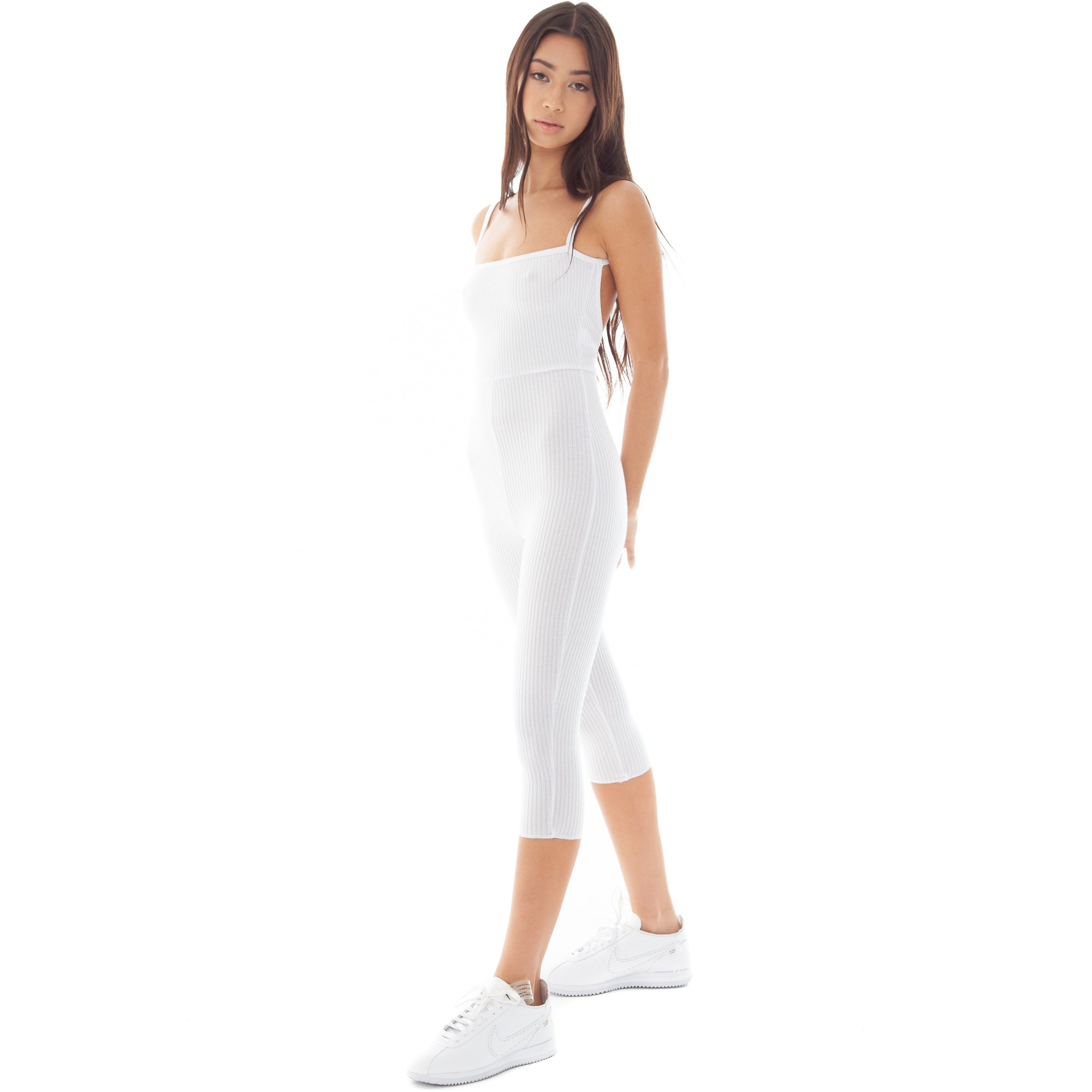Are You Am I - Kitta Capri Catsuit **white