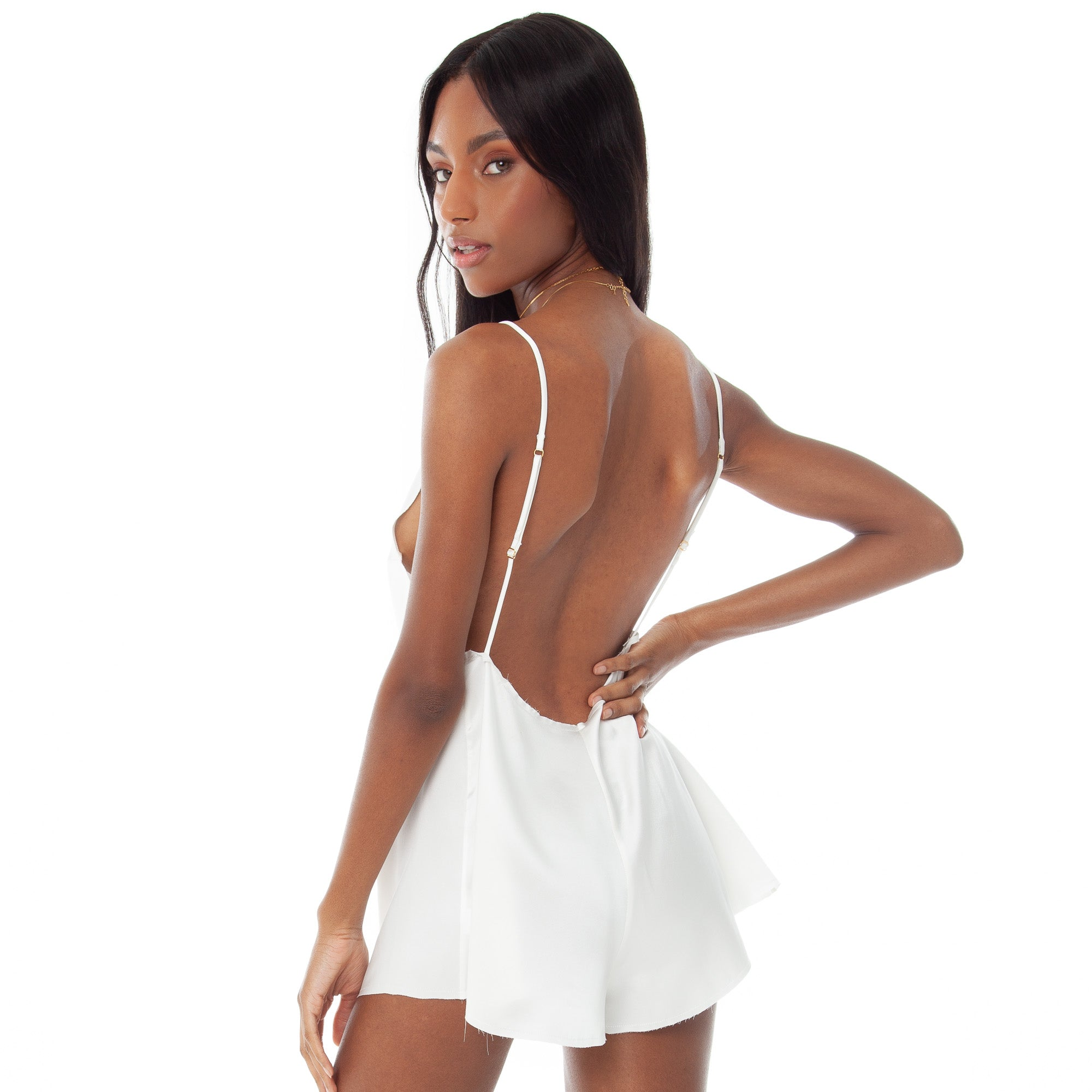 Are You Am I - Zillah Romper **white