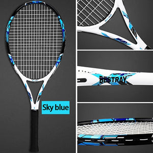Professional Carbon Tennis Rackets Strings Bags 102SqIn Training Racquet Adult Tenis Racket 50-59LBS Padel Sports