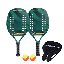 Load image into Gallery viewer, New Popular Beach Tennis Racket Carbon Fiber Men Women Sport Tennis Paddle Set with 2 Racquets  2 Bags and 2 Balls