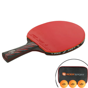 1PCS 6 Star Table Tennis Blade Professional PingPong Racket Nano-Carbon Long Short Handle Paddle Racquet with Carry Bag 3 Balls