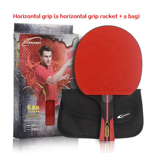 CROSSWAY Professional Table Tennis Racket 6 Star Single Racket with High Quality Bag Racquet Sports Ping Pong Paddle Rubber Bats