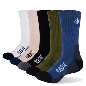 YUEGDE Brand 5 Pairs Men's Cushion Cotton Breathable Comfortable Sports Tennis Outdoor Hiking Wicking Work Crew Dress Socks