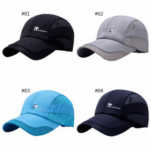 Load image into Gallery viewer, Hot Mesh Elegent Cap Men Women Letter Embroidery Cotton Polyester Sun Shade Quick Dry Anti-UV Adjustable Hats Outdoor Running