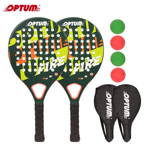 OPTUM Fire Carbon Fiber Rough Surface Pro Paddleball Racquets set (2 Paddles, 4Balls, 2 Cover Bags) Beach Game Frescobol Paddlle