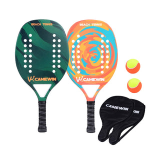 New Carbon Fiber Beach Tennis Racket Soft Face Paddle Tennis Racquet with 2 Rackets 2 Bags and 2 Balls
