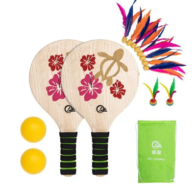 Cricket Wood Racket Paddles Set EVA Sponge Outdoor Racquet Game Low-intensity Exercise Equipment