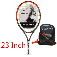Load image into Gallery viewer, Head Junior Carbon Fiber Tennis Racquet for Kids Youth Childrens Training Rackets With bag cover 21/23/25 Inch Raquete De Tenis