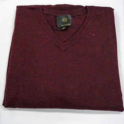 Cotton blend V neck Sweater - Long Sleeve - Burgundy Heather