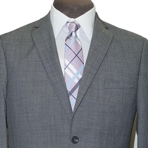 Slim Fit 2 Pant Wool Blend Suit - Light Grey