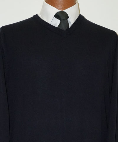 Cotton blend V neck Sweater - Long Sleeve - Navy