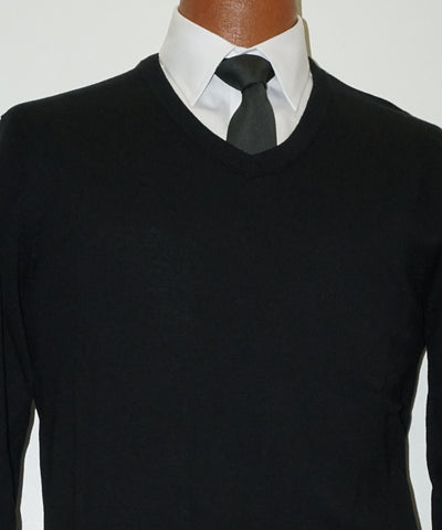 Cotton blend V neck Sweater - Long Sleeve - Black