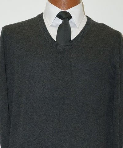 Cotton blend V neck Sweater - Long Sleeve - Charcoal