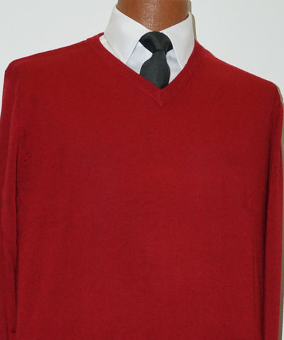 Cotton blend V neck Sweater - Long Sleeve - Red