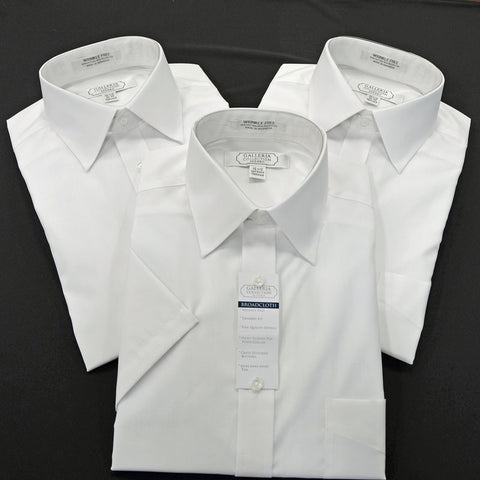 Tailored Fit Short Sleeve White Shirt - Big & Tall