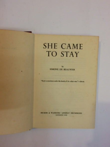 'She Came to Stay'- Simone de Beauvoir' First Ed.