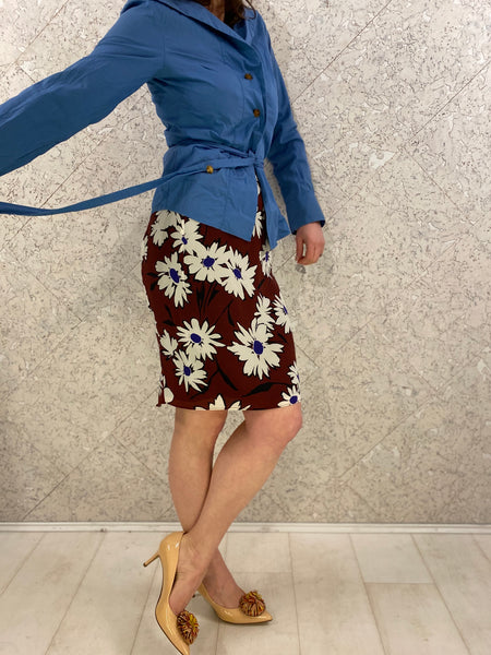 Nina Ricci - French Designer - Silk Floral Skirt