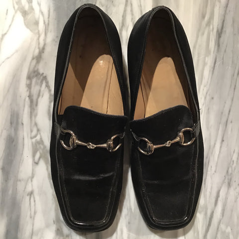 GUCCI Black Satin Loafers - Size 38