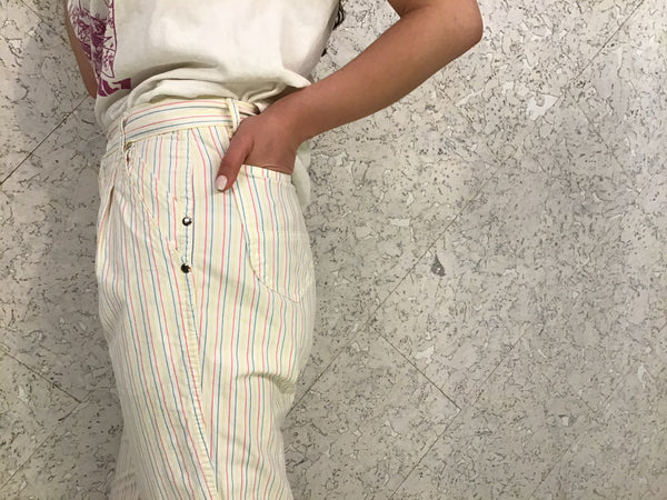 Candy-Stripe Vintage Hi-Waist Pants