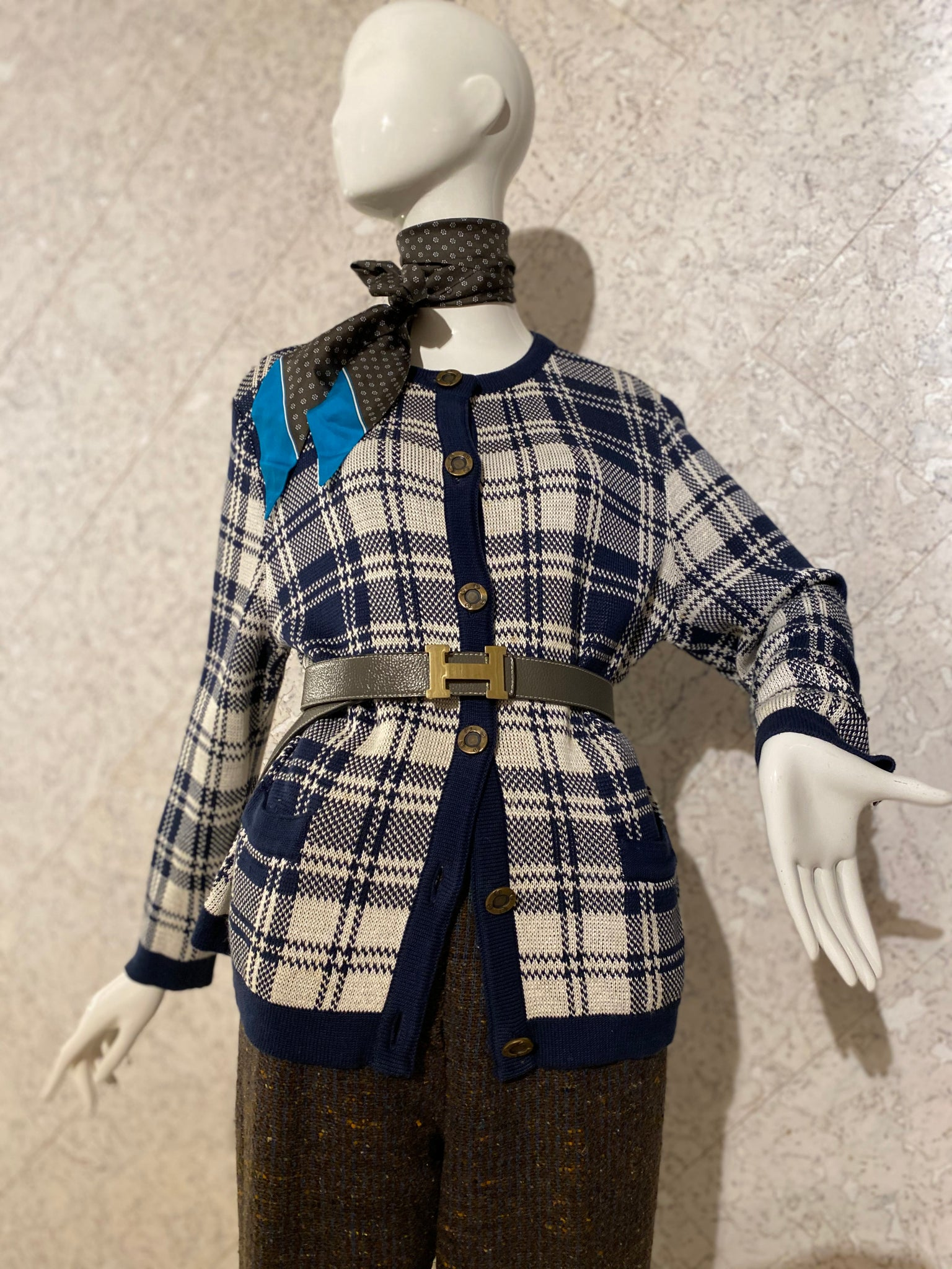 French Navy Check Cardigan