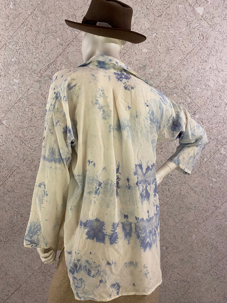 Hand-dyed Blues Silk Shirt