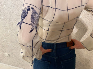 Louis Féraud - French Designer - Silk Parrot Blouse