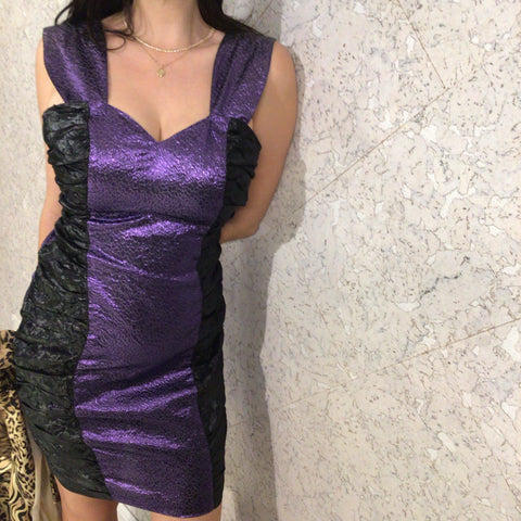 "Sishi Metallic Purple ""Happy New Year"" Dress"