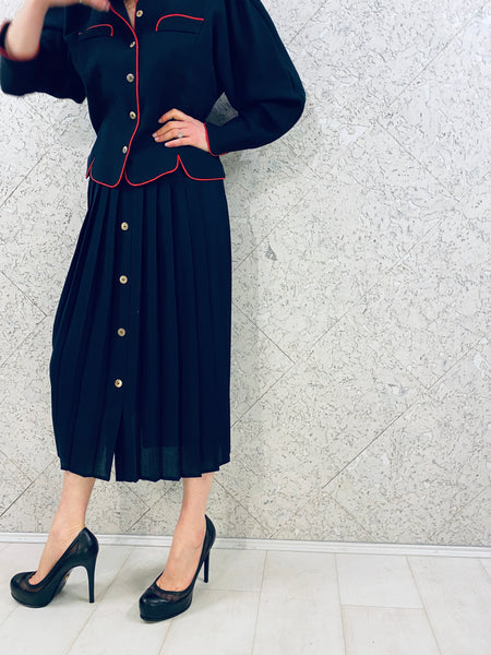 Elegant Vintage Navy Two-piece Skirt Suit