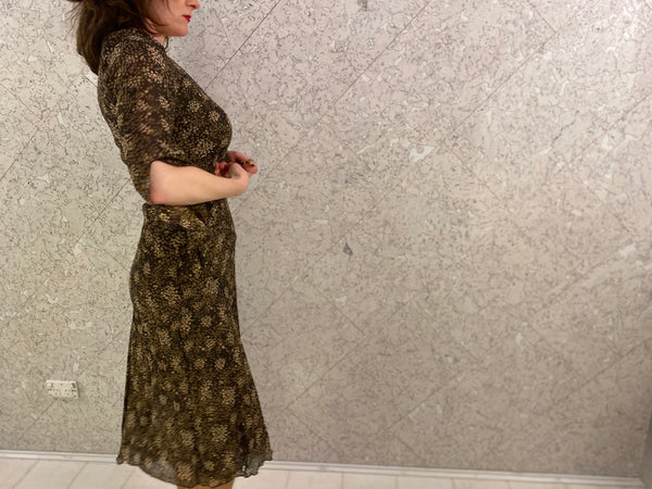 "Nougat Silk ""Fleetwood Mac"" Floaty Dress"