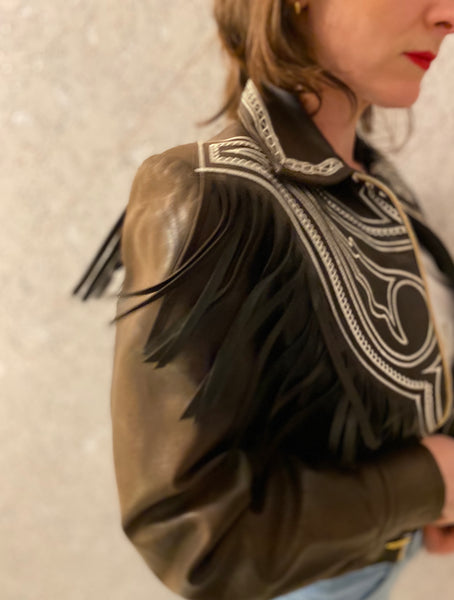 French Cowgirl Chocolate Leather Jacket with Fringing!
