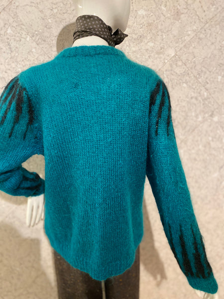 Teal & Black Vintage Cardigan
